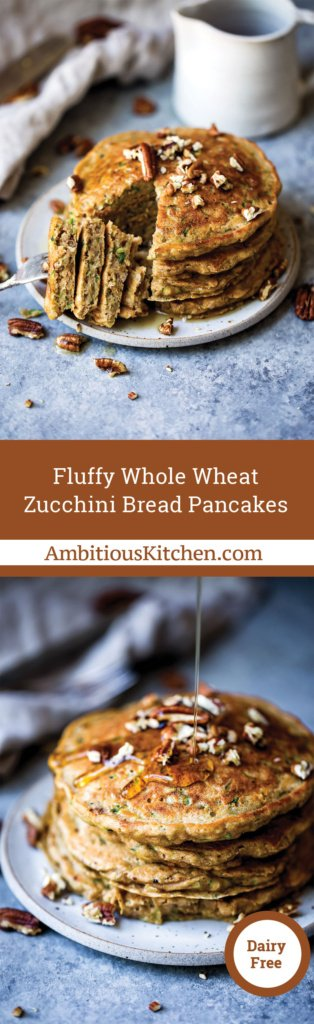 Fluffy whole wheat zucchini bread pancakes with hints of cinnamon and nutmeg. These pancakes taste like a slice of your favorite classic zucchini bread.