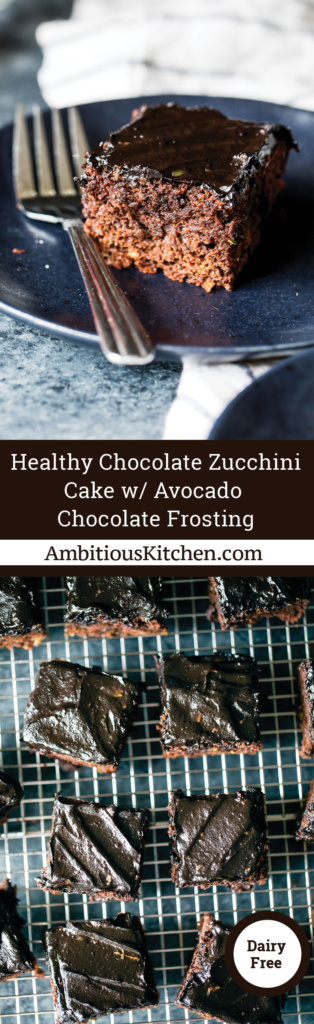 Super moist healthy chocolate zucchini cake with a silky smooth avocado chocolate frosting. Naturally sweetened & perfect to make as a birthday cake!
