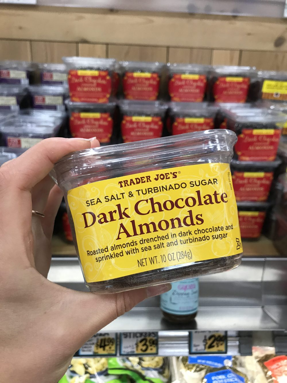 container of dark chocolate almond