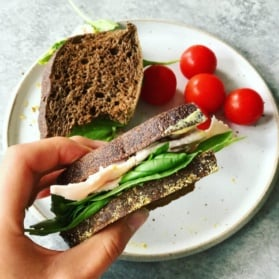 holding half of a turkey sandwich