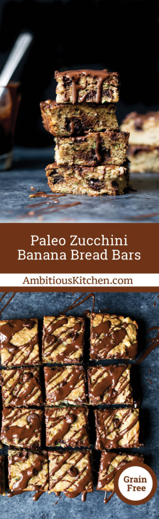 Paleo Zucchini Banana Bread Bars with chocolate chips are the BEST way to enjoy a healthier treat when you have a sweet tooth. Packed with fiber & protein!
