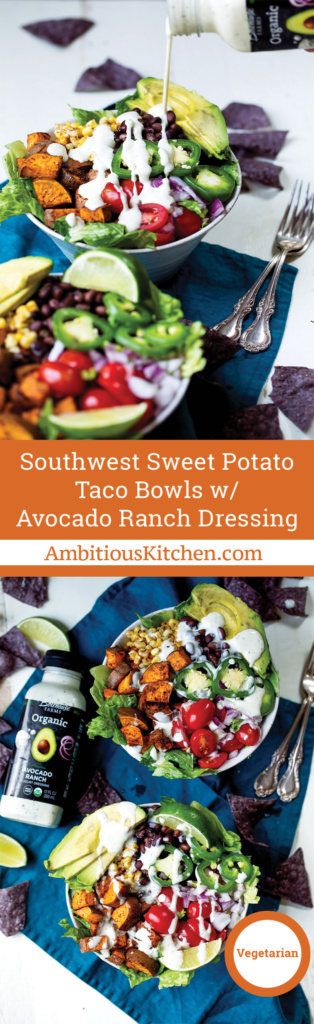 Amazing sweet potato taco bowls packed with plant based protein and your favorite southwest flavors. Easy to make ahead of time & perfect to pack for lunch.