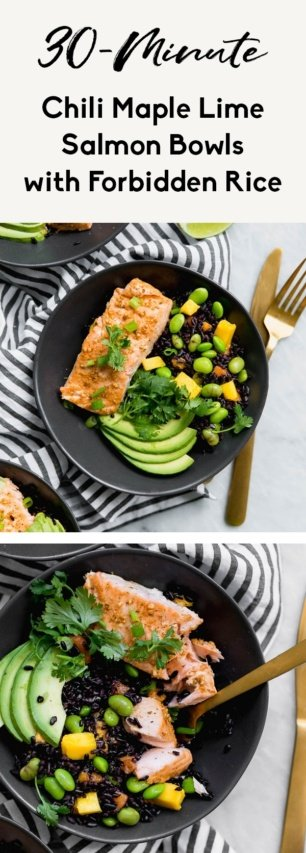 collage of chili lime salmon bowls
