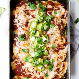 vegetarian enchilada casserole in a baking dish