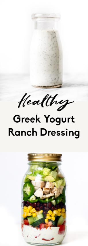 collage of healthy greek yogurt ranch dressing