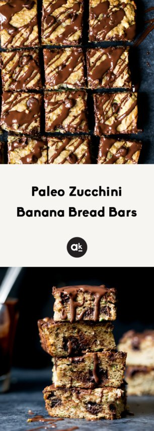 paleo zucchini banana bread bars collage