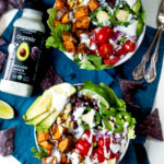 Vegetarian Southwest Sweet Potato Taco Bowls with Avocado Ranch Dressing