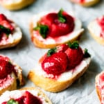 Roasted Strawberry, Basil, and Goat Cheese Crostini from Love Real Food