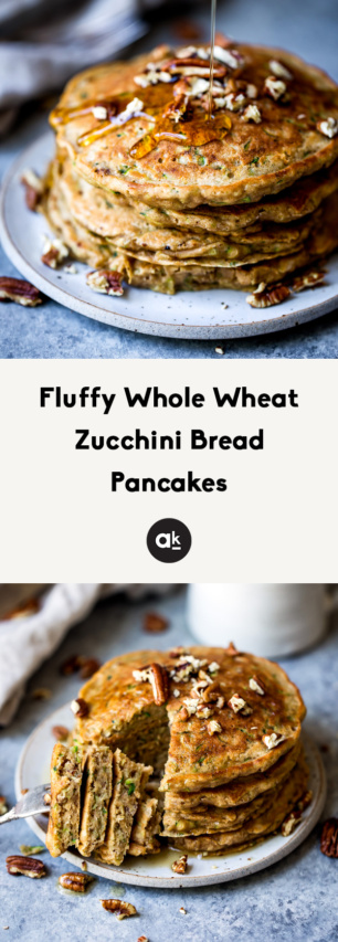 collage of zucchini bread pancakes