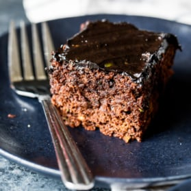 healthy chocolate zucchini cake on a plate