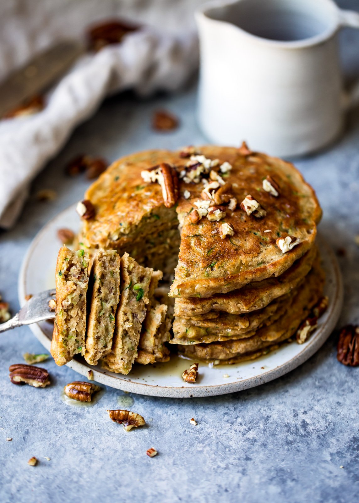 whole wheat zucchini bread pancakes on a plate