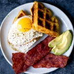 Sweet Corn Honey Jalapeno Zucchini Cornbread Waffles with Turkey Bacon & Eggs