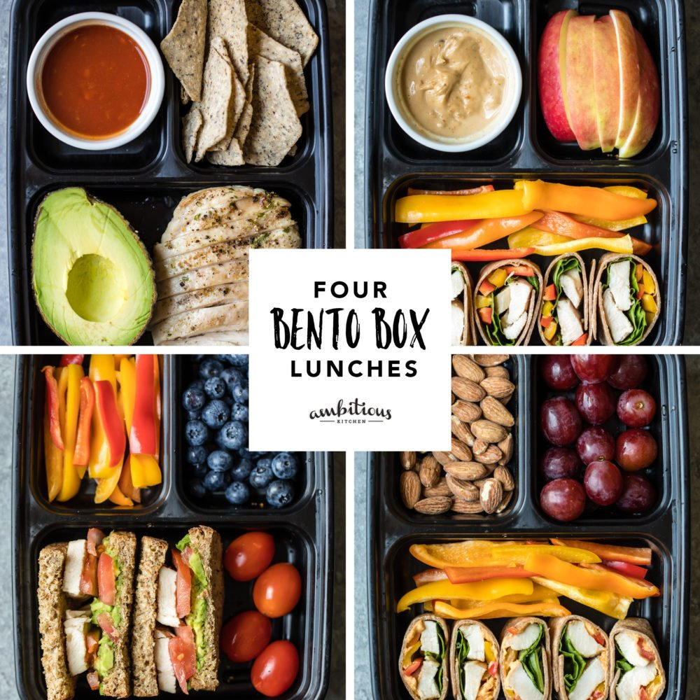 four bento box lunches graphic