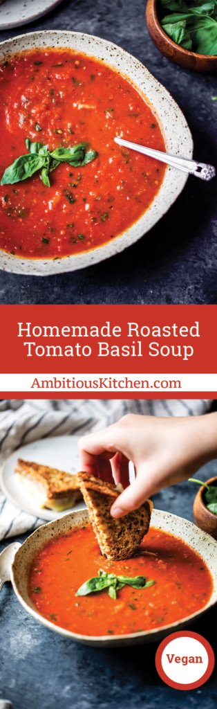 Homemade roasted tomato basil soup -- a great way to use up fresh tomatoes and so delicious you'll never want to go back to a canned recipe again!