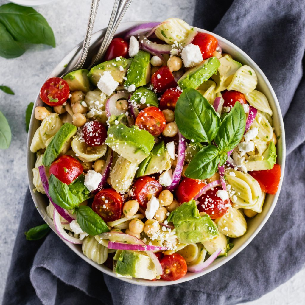 chickpea pasta salad in a bowl