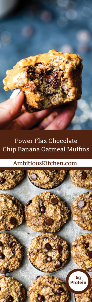 Nutritious power banana oatmeal muffins made with wholesome ingredients like Coach's Oats, Greek yogurt and flaxseed meal. Perfect on the go snack!
