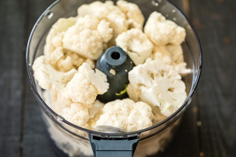 cauliflower in a food processor to make cauliflower pizza crust