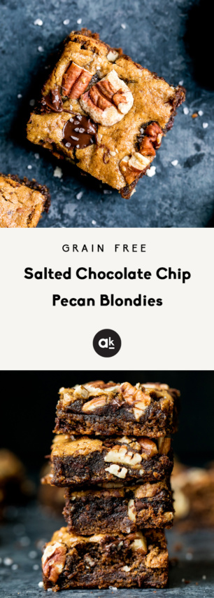 collage of grain free pecan blondies