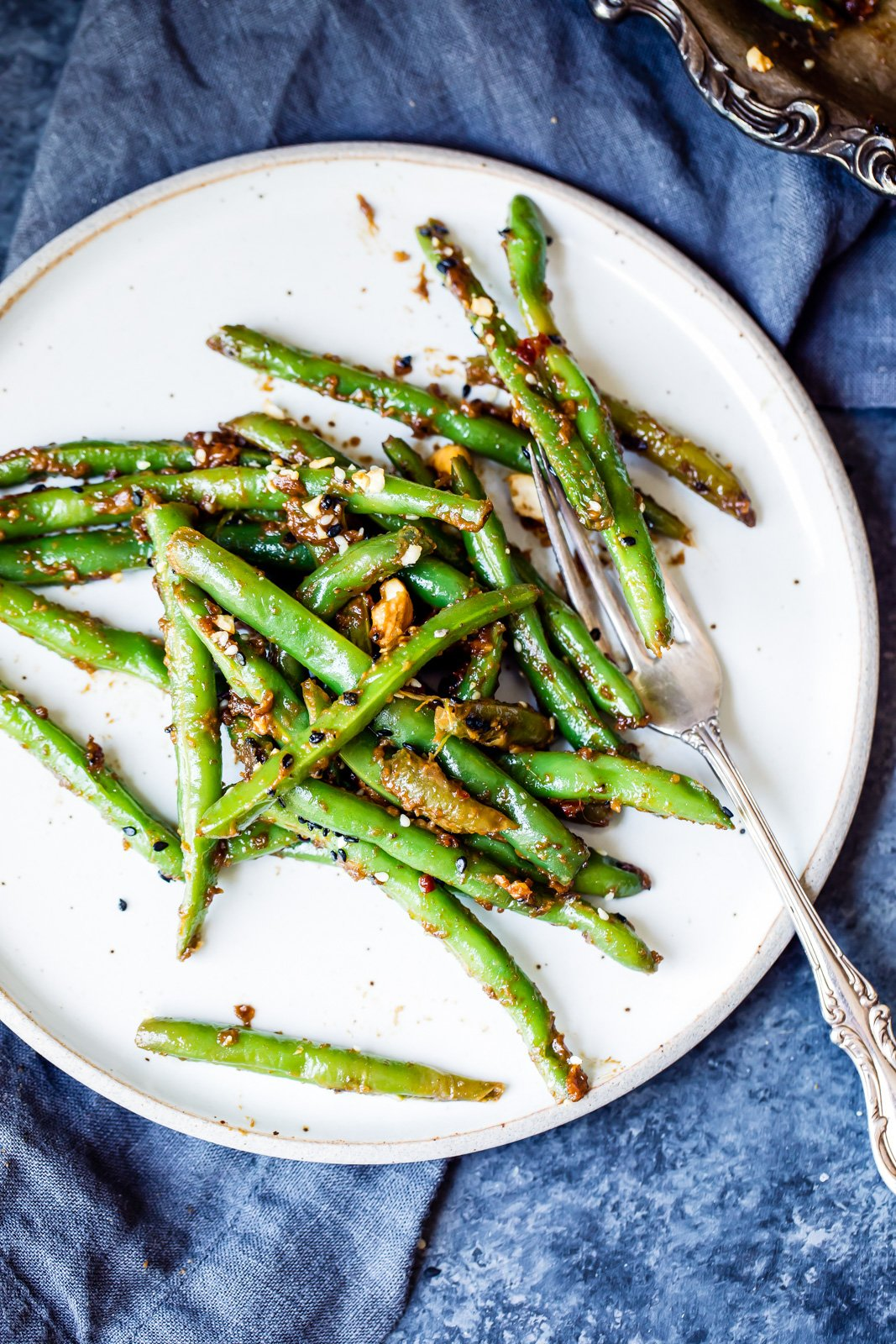 Thai Green Beans made on the stovetop with a delicious easy peanut sauce. These will be your new favorite way to eat green beans!