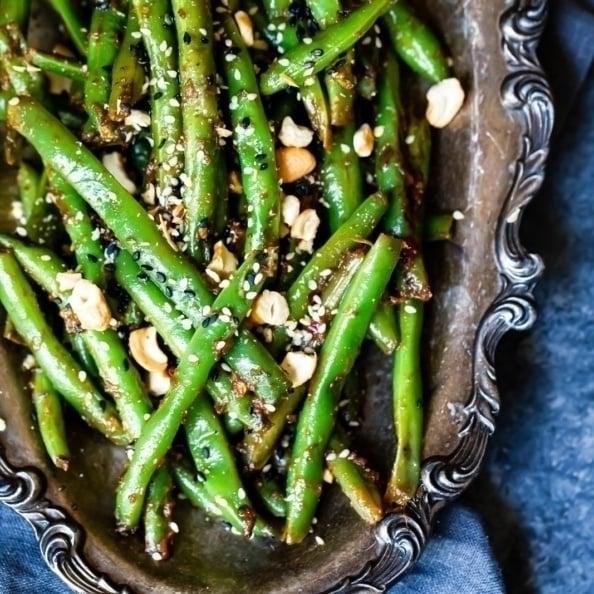 Thai Green Beans on a silver platter