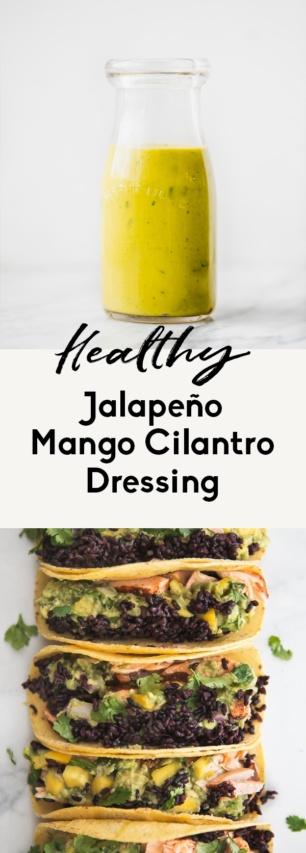 collage of mango cilantro dressing
