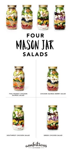 collage of four mason jar salads