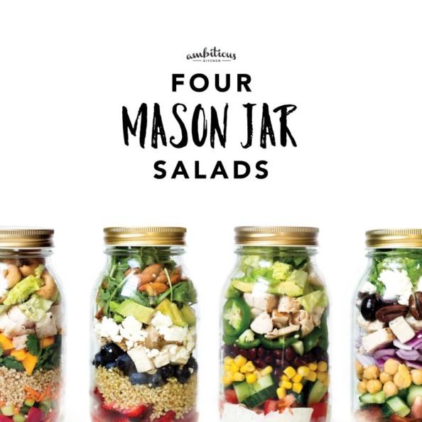 four mason jar salads with text overlay