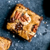 pecan blondies topped with sea salt