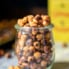 spicy roasted chickpeas in a small jar