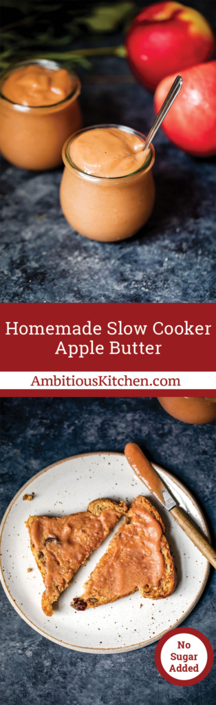 Slow cooker apple butter with no added sugar -- just sweet juicy apples and spices! Great for using extra apples up. This apple butter is amazing!