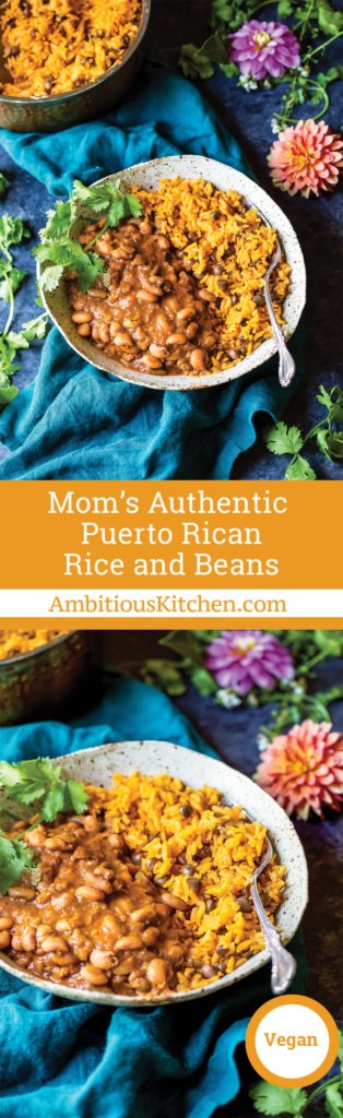 Mom's authentic Puerto Rican Rice and Beans with savory homemade sofrito and sazon! You'll love this incredibly flavorful, comforting homemade meal.