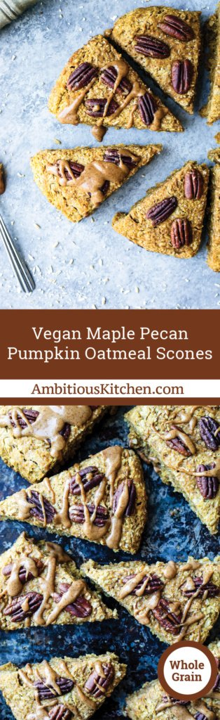 Fall-inspired vegan pumpkin oatmeal scones with hints of maple, pecan and pumpkin spice in every bite! Made with hearty Coach's Oats!