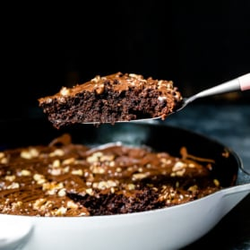 skillet brownies in a skillet pan