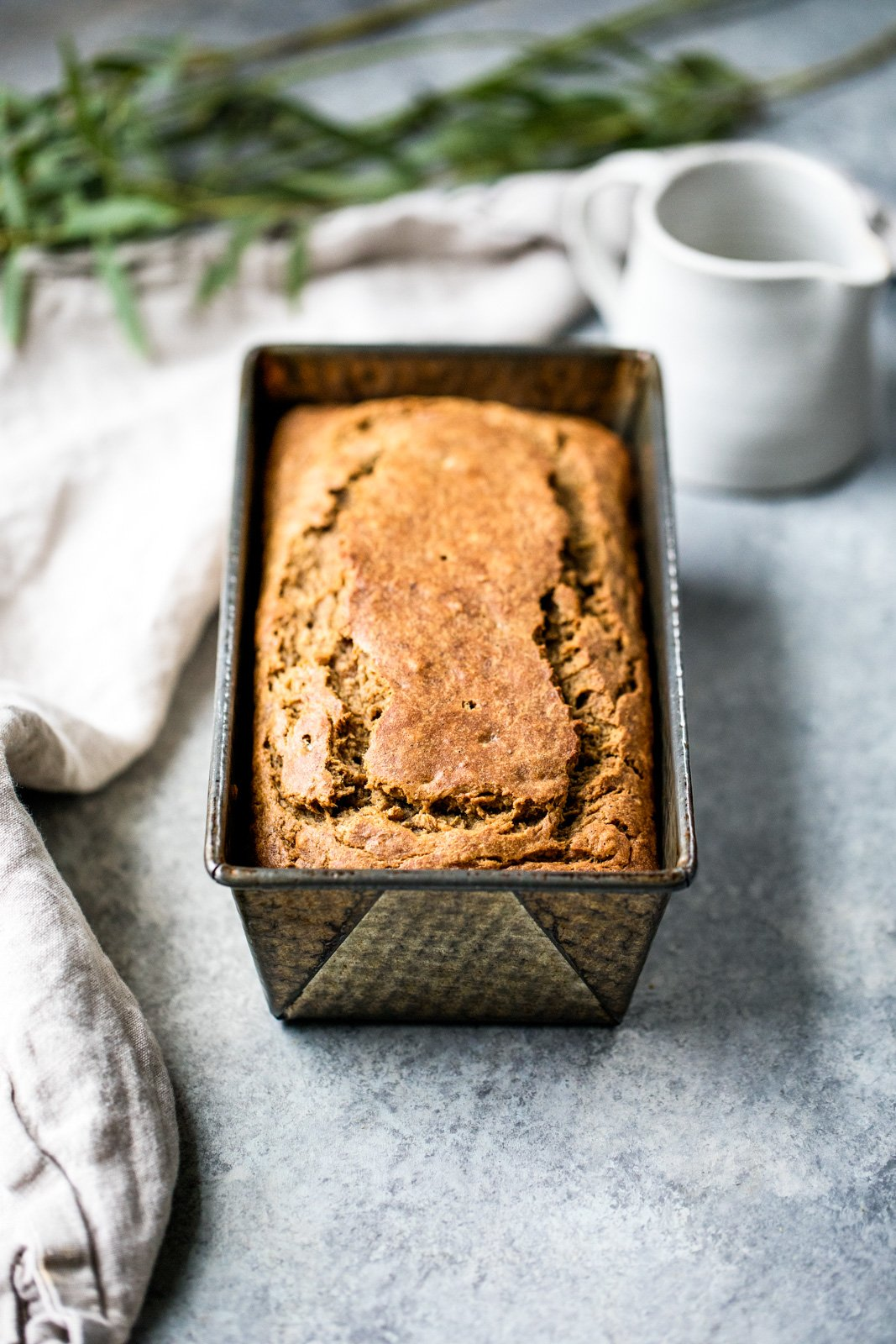 Healthy chai banana bread in a loaf pan