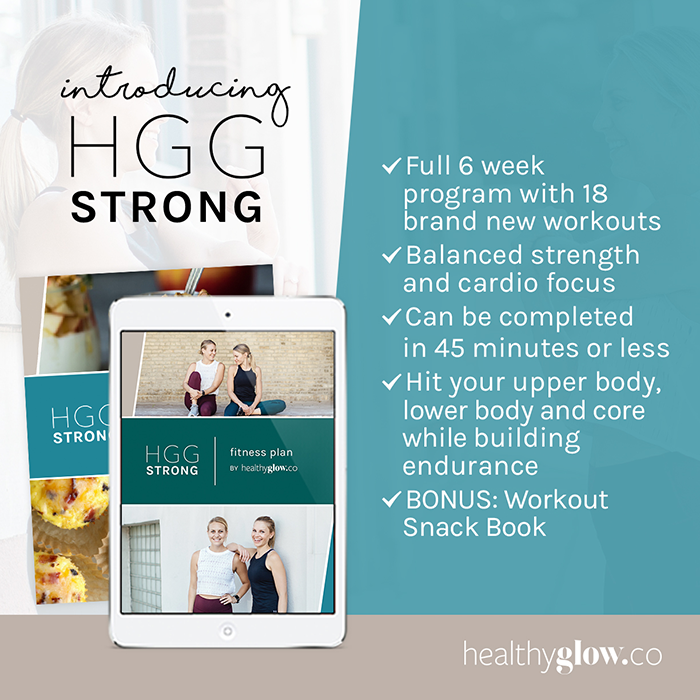 It's here! Our new Healthy Glow Co. HGG STRONG Fitness Guide has 6 weeks of strength and cardio workouts to help you crush your fitness goals.