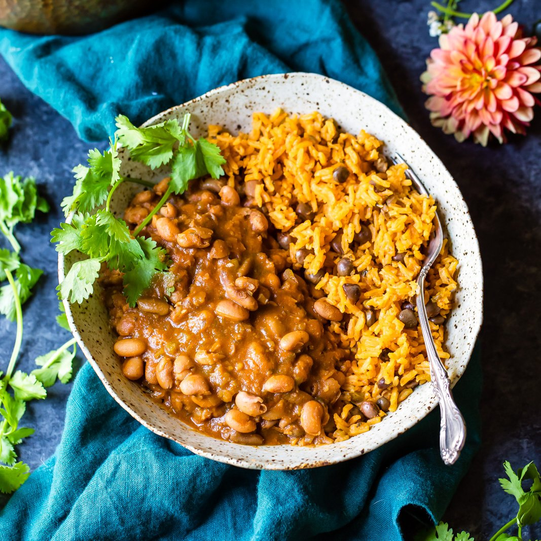 Mom S Authentic Puerto Rican Rice And Beans Ambitious Kitchen