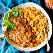 Puerto Rican Rice and Beans in a bowl