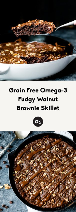 collage of walnut skillet brownies