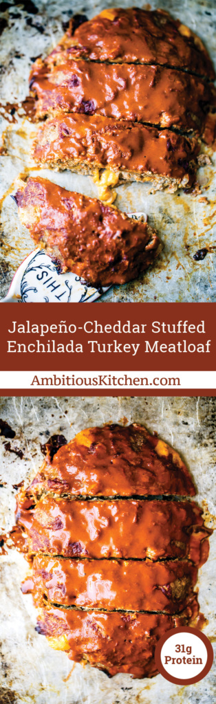 Enchilada turkey meatloaf stuffed with sharp cheddar cheese and jalapenos to make this a deliciously spicy and FUN dinner idea!