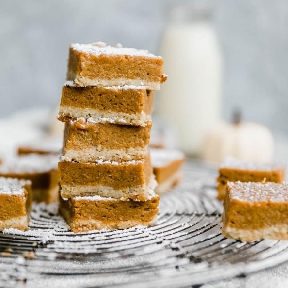 paleo pumpkin pie bars in a stack