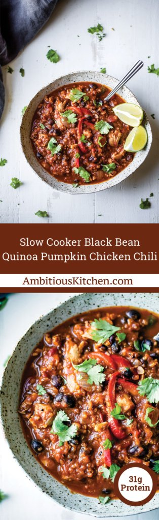 Pumpkin chicken chili with black beans and quinoa! A protein packed delicious dinner that can be made in your slow cooker.