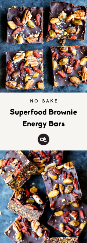 collage of brownie energy bars