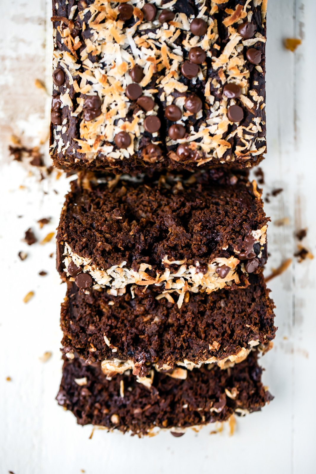 coconut double chocolate pumpkin bread sliced
