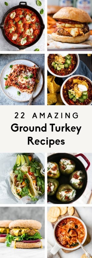 collage of ground turkey recipes