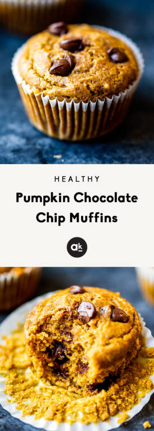 collage of healthy pumpkin chocolate chip muffins