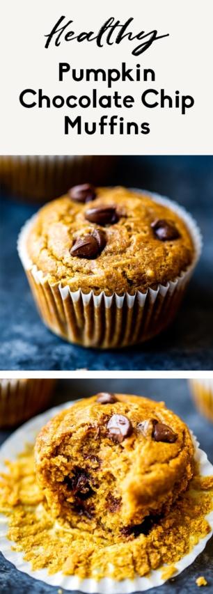 collage of healthy pumpkin muffins