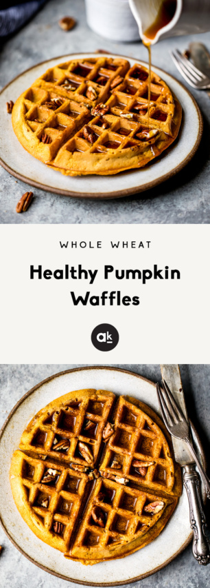 collage of healthy pumpkin waffles