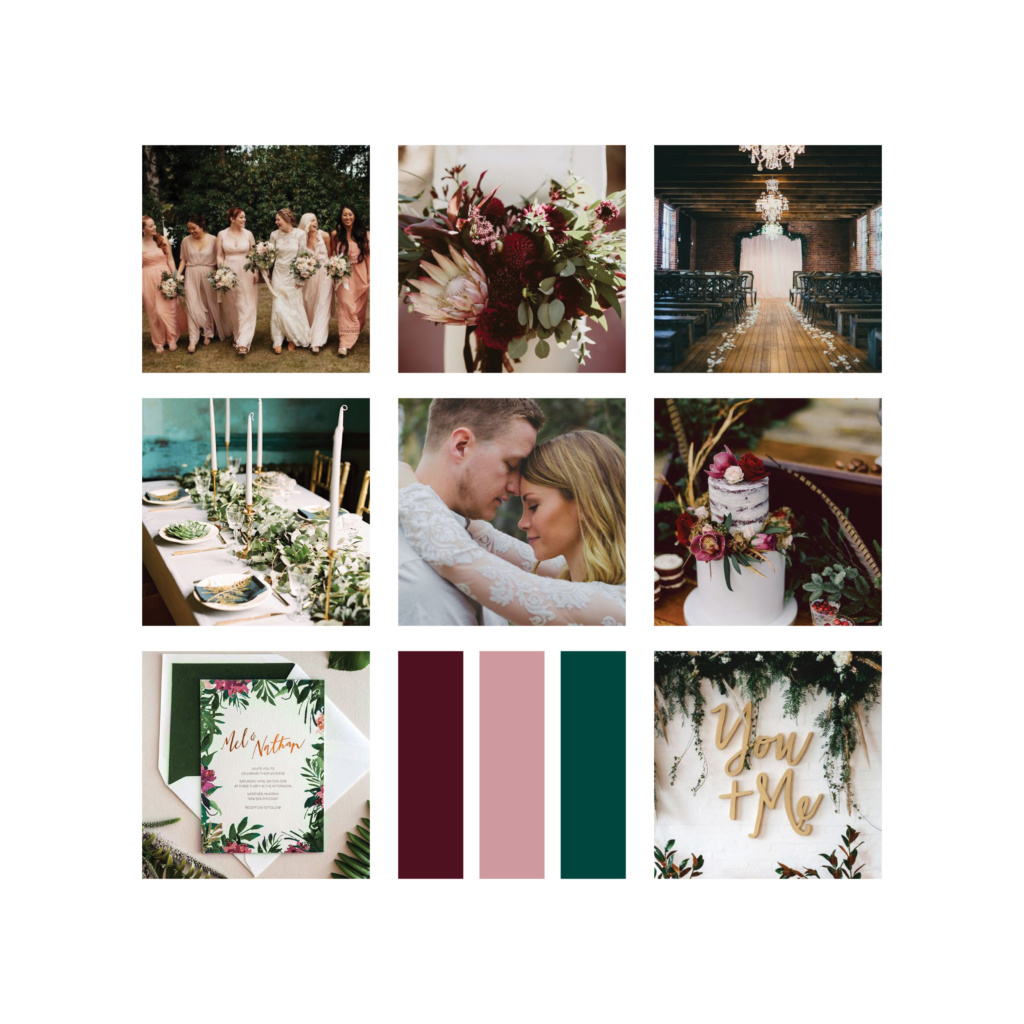 wedding colors and details moodboard