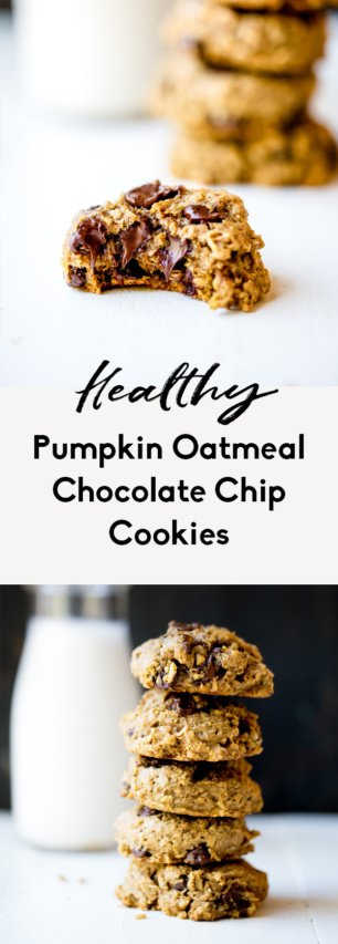 collage of pumpkin oatmeal cookies