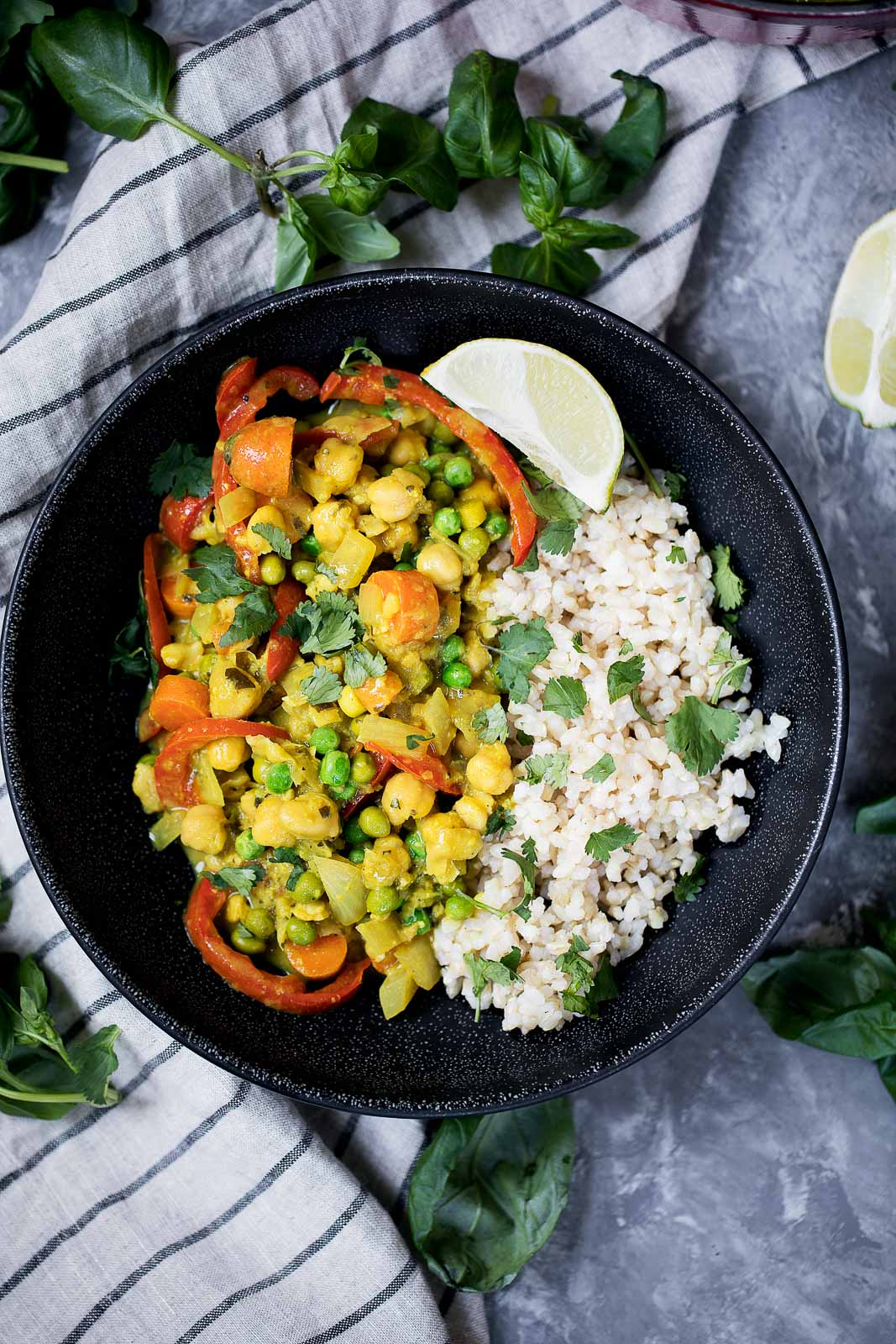 one pan meals: chickpea curry with rice in a bowl